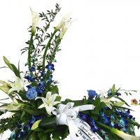 Coussin d'urne blanc & bleu