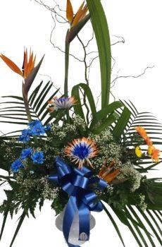 Corbeille exotique bleue et orange