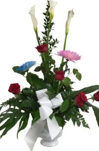 Corbeille exotique de calla et roses