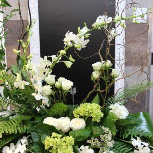 Coussin d'urne blanc & vert
