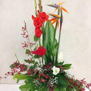 Corbeille funeraire exotique avec oiseaux et orchidée