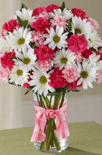 Bouquet blanc, rose et rouge
