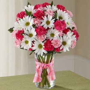 Bouquet blanc, rose et rouge
