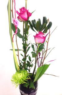 Montage de roses roses