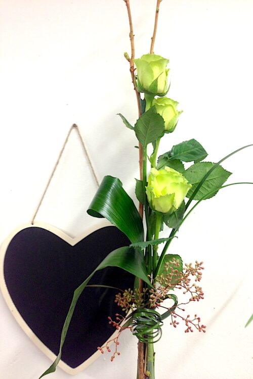 Bouquet de 3 roses blanches