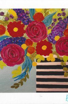 Carte personnalisée «Bouquet coloré en vase rayé»