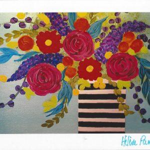 Carte personnalisée « Bouquet coloré en vase rayé »