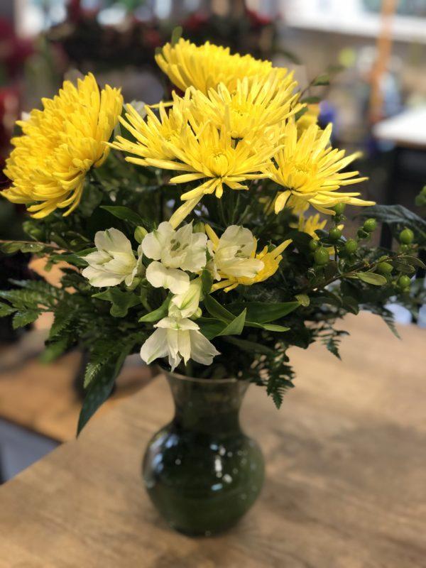 Bouquet blanc jaune et vert